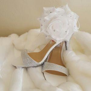 ICE PRINCESS RHINESTONE CINDERELLA WEDDING HEELS
